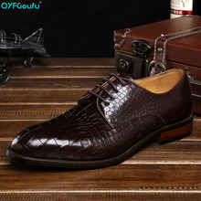 New Luxury Designer Formal Crocodile Pattern Men Dress Shoes Genuine Leather Shoes Flats Oxfords For Wedding Business ruimosi luxury brand crocodile man monk shoes genuine leather wedding oxfords formal dress round toe men s bridal flats ad39