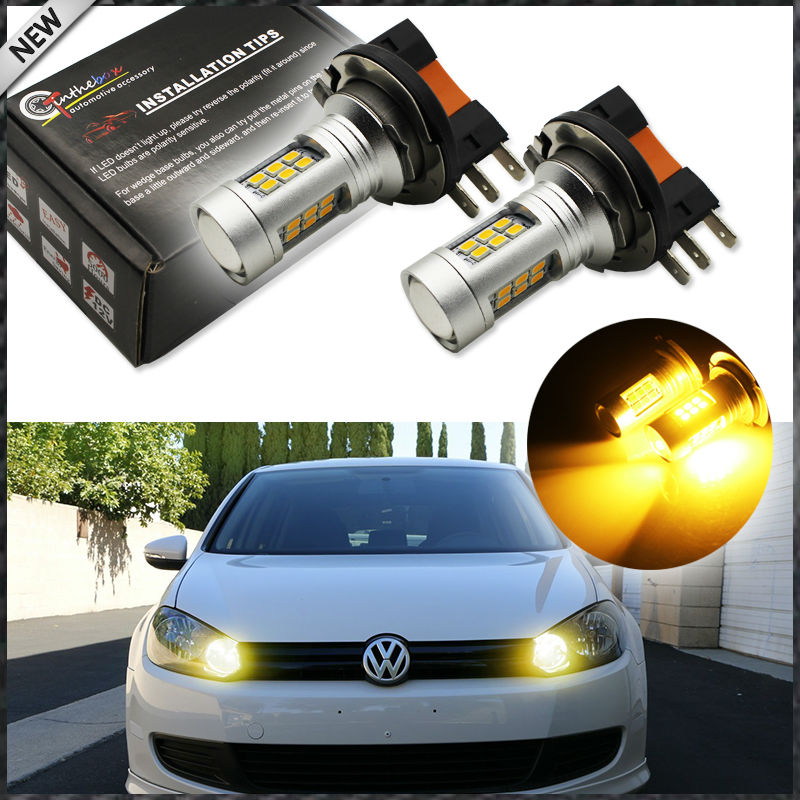 iJDM Gold Yellow 3000K LED 2835-SMD H15 LED Bulbs For Audi BMW Mercedes Volkswagen For Daytime Running Lights ijdm amber yellow error free bau15s 7507 py21w 1156py xbd led bulbs for front turn signal lights bau15s led 12v