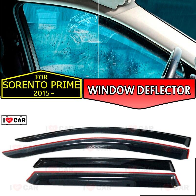 نافذة منحرف لكيا سورينتو برايم 2015-نافذة السيارة منحرف حماية الرياح تنفيس الشمس المطر قناع غطاء سيارة التصميم ديكور
