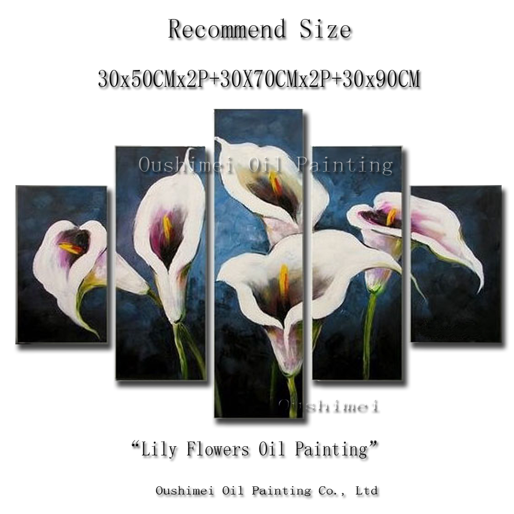 Hand Painted Modern Picture On Canvas Wall Art Lily Flower Painting Hang Paintings Group Of Oil Painting For Living Room In Painting Calligraphy