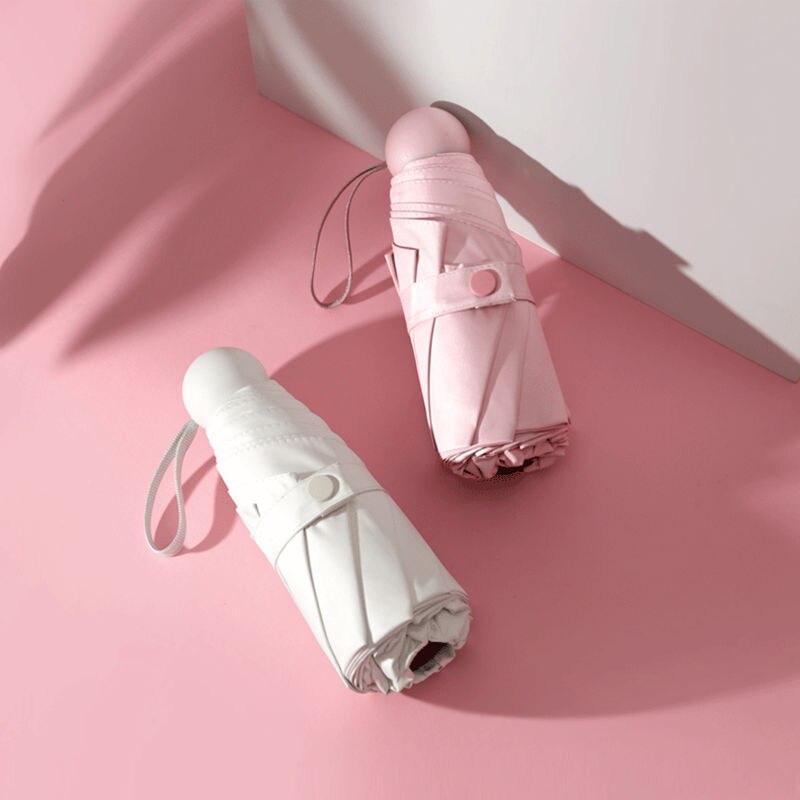 Parapluie pluvieux ensoleillé poche Mini parapluies Anti UV soleil pluie coupe-vent léger pliant Portable pour les femmes fille belle mode - 2
