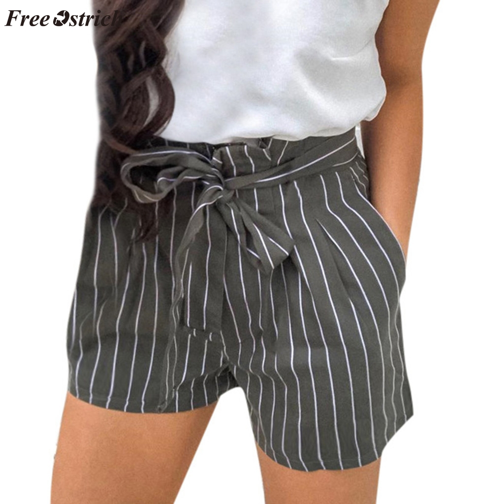 FREE OSTRICH Women's summer trend casual drawstring   shorts   personality daily print striped strap pocket   shorts   for all occasions