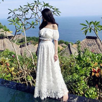 2018 New Cream Ivory Long Lace Skirt Fashion Summer Beach Style A Line Maxi Skirts Womens