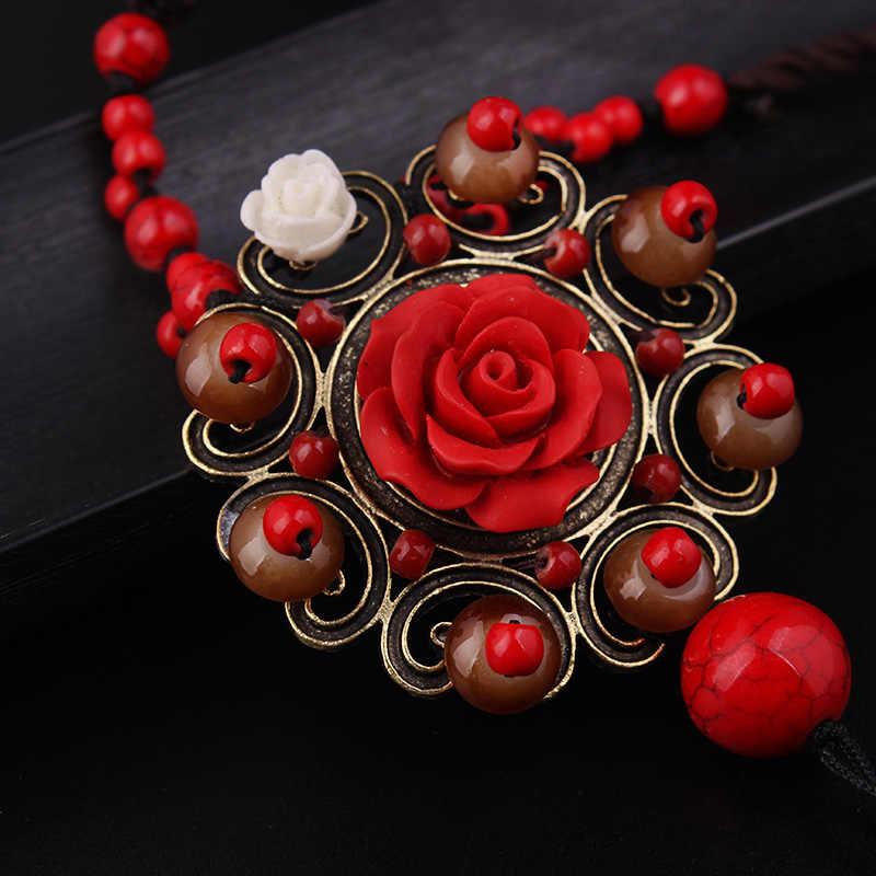 แฟชั่นใหม่ชาติพันธุ์สร้อยคอ, l apisกุหลาบดอกไม้จี้สร้อยคอvintgaeเครื่องประดับสีแดงหินแก้วเสื้อกันหนาวสร้อยคอ