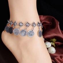 BK New Star Vintage Round Boho Anklet  for Women Summer Metal Coin Beach Foot Bracelet Bridal Jewelry Gift  Retro Tassel Chain vintage tassel engraved round arm chain for women