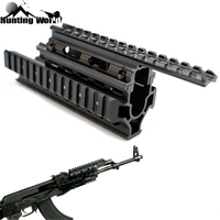 Tactical Ris AK 47/74 AKS Drop in Quad Rail Scope Mount Quad Handguard with 12pcs Rail Covers for Airsoft Shooting Hunting Caza