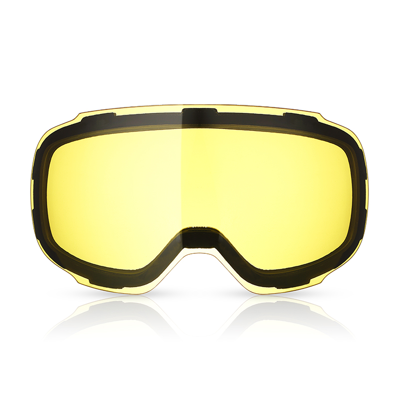 Double Layers Lens Ski Goggles Professional Ski Glasses Replacement Snowmobile Mask Yellow Lens Night Weak Light Anti-fog UV-400