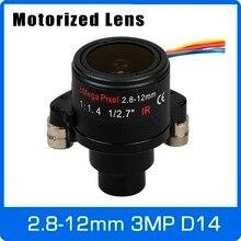 3 мегапиксельная варифокальная камера видеонаблюдения с мотором 2,8 12 мм D14 крепление с моторизованным зумом и фокусом для AHD/IP камеры 1080P/3 Мп бесплатная доставка