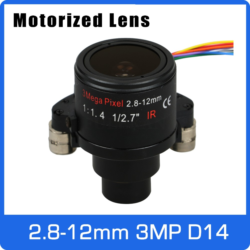 Motor 3Megapixel  Varifocal CCTV Lens 2.8-12mm D14 Mount With Motorized Zoom And Focus For 1080P/3MP AHD/IP Camera Free Shipping