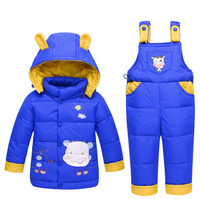 New Winter Kids Baby Girl Boy Toddler Snow Ski Suits Hoodied Cartoon Detachable Hoodied Duck Down