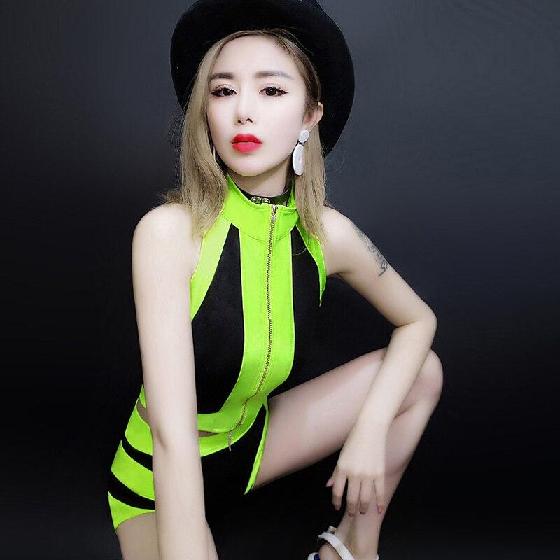 Nightclub Dj Female Singer Jazz Dance Costumes Adult Sexy Lead Dance Suit Green Black Hip Hop Ds Performance Clothing Set