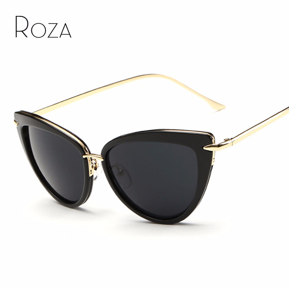 ROZA Women's Sunglasses Cat Eye Style Alloy Temple Coating Mirror Lens Retro Sun Glasses Brand Design UV400 QC0269