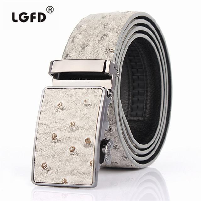 LGF13212 Avestruz automática cinturón de hebilla de cuero de vaca genuino de cuero doble cosido hombres Ratchet Cinturón