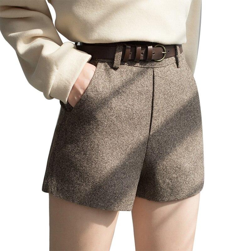 EGGKA nueva Otoño Invierno cintura alta mujeres Chic Oficina Coreana de lana suelta coreano Delgado cintura corto pantalones mujeres con fajas