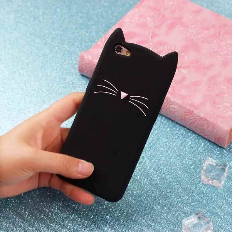 De moda de 3D de dibujos animados lindo Barba Negra oreja de gato de las mujeres de silicona caso para iphone 5 5S SE 6 6 s 7 7 plus funda trasera de goma