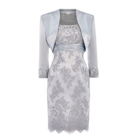 YNQNFS MD8 Real Photos Two Piece With Long Sleeves Jacket Beaded Short Mother of the Bride/Groom Dresses Lace Outfit Silver Grey
