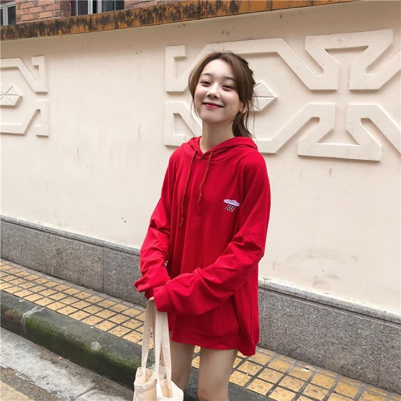 2018 green red Hoodies Winter Female Harajuku white Solidwomen Sweatshirt Women Clothing Black Autumn Hooded For Warm Owzfqz