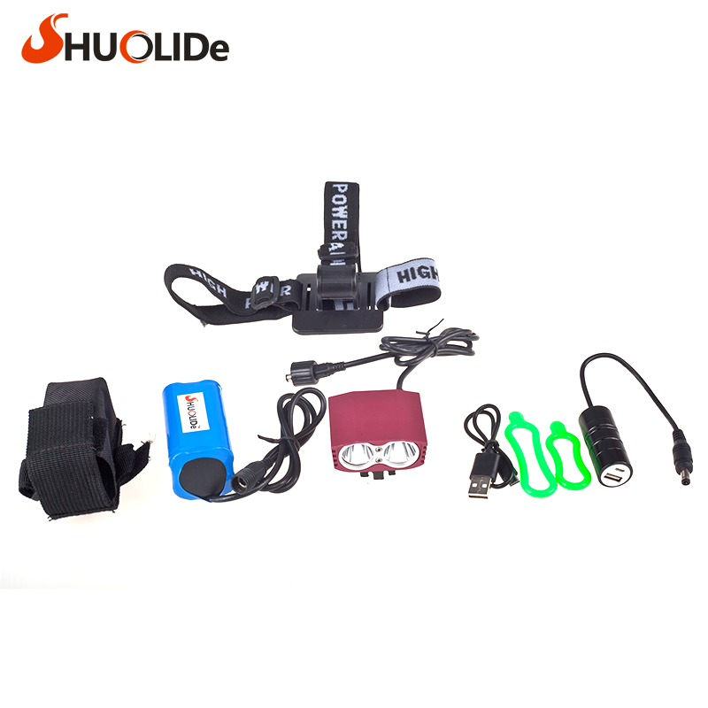 Waterproof 2000 Lumen LED CREE XML2 U2 LED Cycling Bicycle Bike usb 18650 Light Lamp HeadLight Headlamp Headlight strips Charger waterproof 5000 lumen 2x xml u2 led cycling bicycle bike light lamp headlight headlamp 6400mah battery pack charger