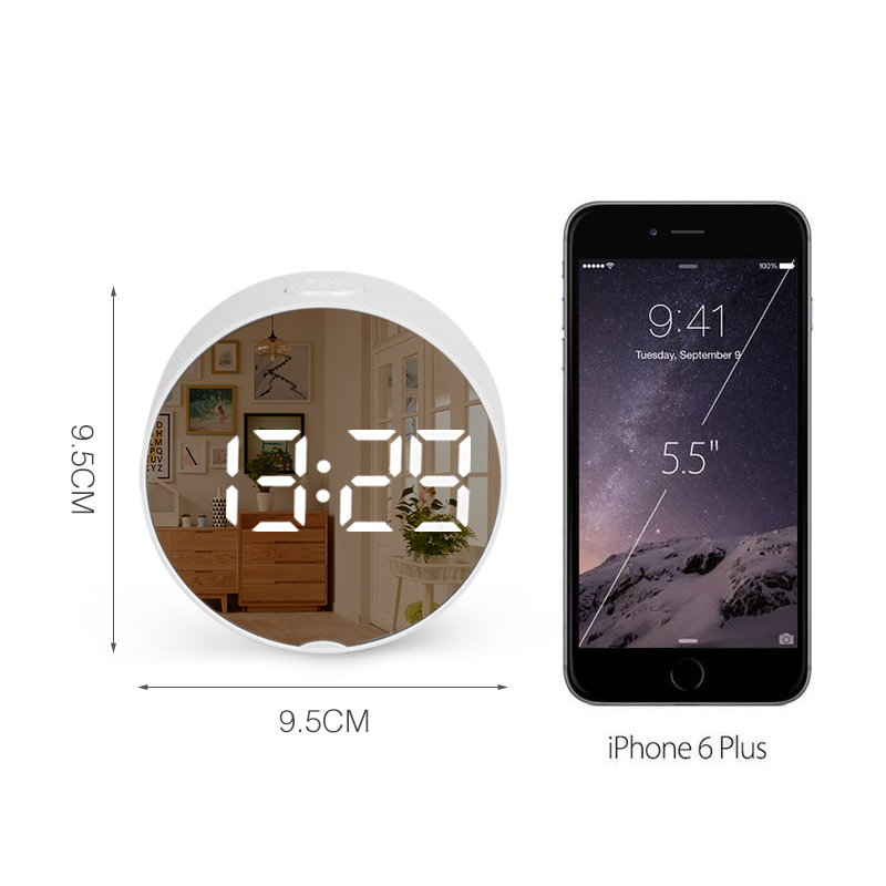Round Digital Mirror Alarm Clock with LED Used as Night Light With Snooze Function and Temperature Display Electronic Useful for Home Decor