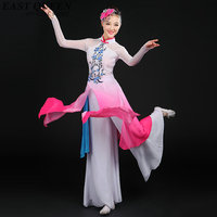 Chinese folk dance costume clothing hanfu ancient fan dance traditional Chinese dance costumes Stage dance wear KK797