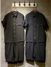 Male Slim Cotton plus size one piece denim bib pants men's Jumpsuit Overalls Stripe Suspenders Rompers Coveralls Pants