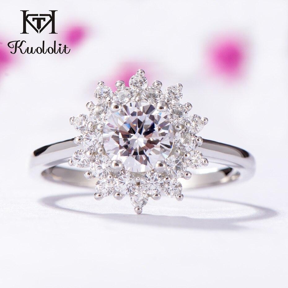 Kuololit Moissanite anneaux pour femmes 925 bague en argent Sterling massif 0.7ct D couleur VVS1 Moissanite diamant naturel bijoux fins