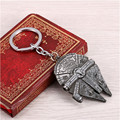 Movie Star Wars Han Solo's Millennium Falcon Car Keychain Spacecraft Silver Alloy Bottle Opener Pendant Key Chain Ring