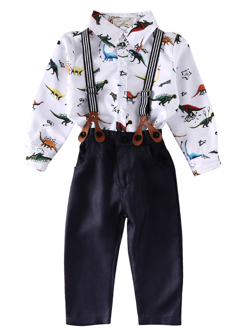 Toddler Kids Baby Boys Sets Long Sleeve Dinosaur Print Shirt+Braces+Overalls Clothes Outfit Set boys clothes brand 2017 autumn boys gentleman set baby boys striped long sleeve shirt denim long overalls pants 2pcs sets 4