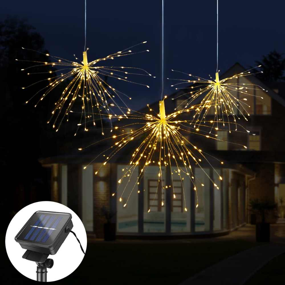 DIY Fireworks Solar String lights For Garden Decoration Bouquet LED String Christmas Festive Fairy lights Outdoor Solar lamps