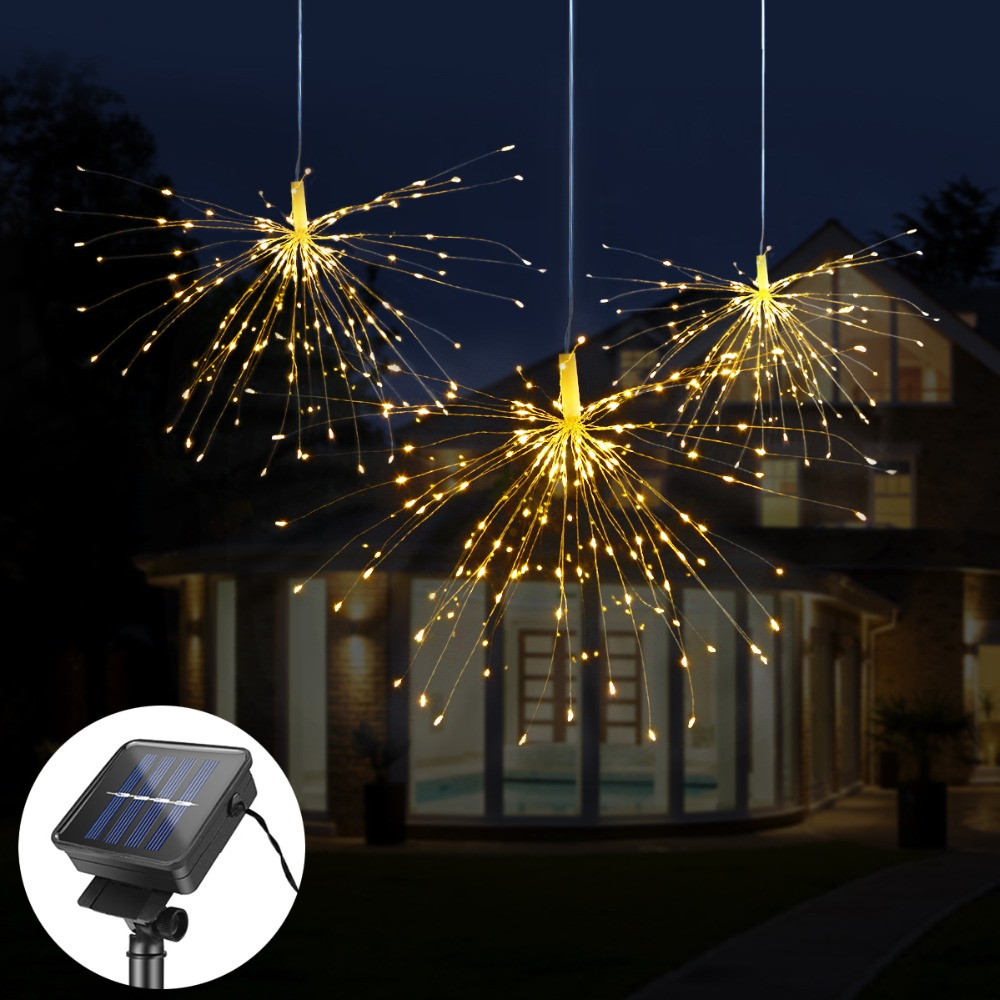 Us 7 96 38 Off Diy Fireworks Solar String Lights For Garden Decoration Bouquet Led Christmas Festive Fairy Outdoor Lamps In