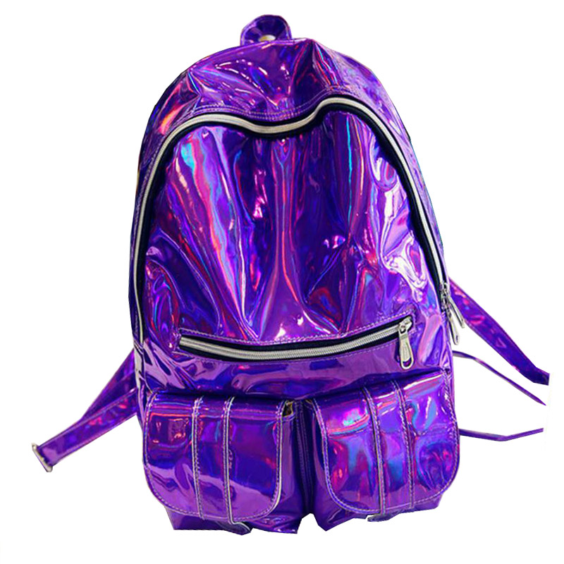 цена на 2018 Women Hologram Laser Leather Backpack Holographic Transparent Backpacks Sac a Dos School Bag For Teenagers Travel Rucksack