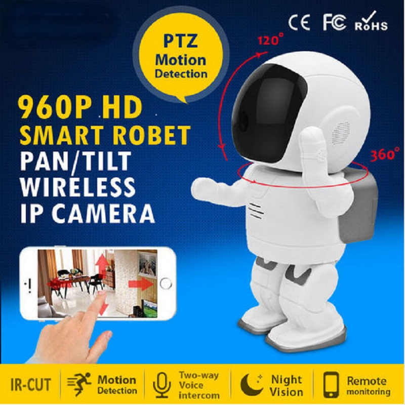 ФОТО 960P HD Wireless Mini Robot Camera Two Way Audio Home Security WIFI IP Surveillance Security Camera for IOS Android Phone