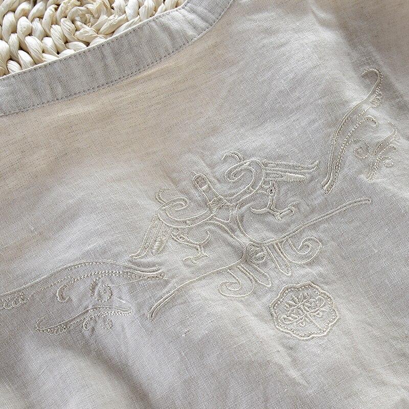 Marka włoska lniane koszule męskie lato solidny biały