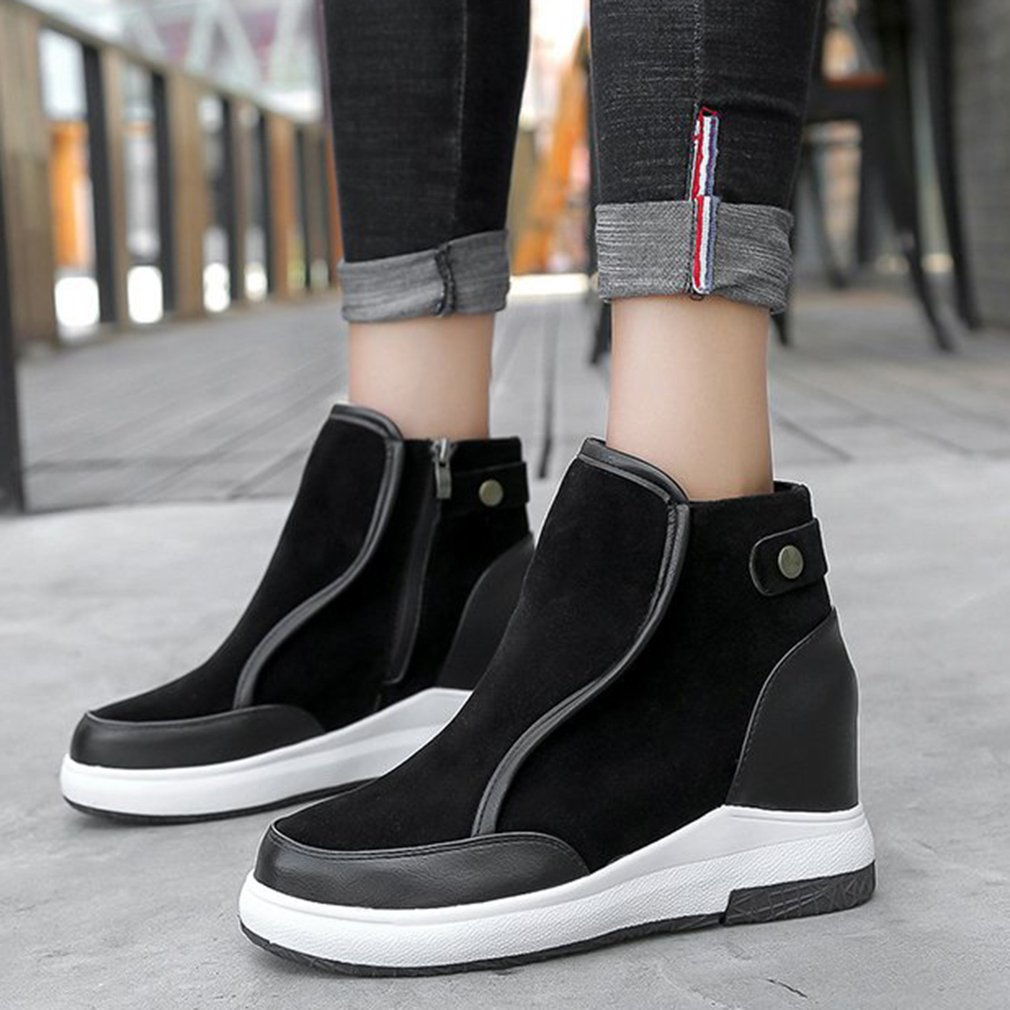 Autumn Winter Women Anti-slip Boots Fashionable Design Lady Solid Color Round Toe Soft Leather Side Zipper Ankle Boots Shoes alluring round neck solid color hole design irregular romper for women