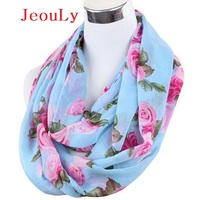 2014 Spring Fashion Free Shipping Rose Print Chiffon Scarf Chevron Scarf Infinity Scarves Women Female
