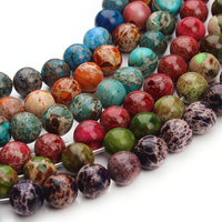 New 48pcs Strand 15 Natural Stone 6 Colors Sea Sediment Imperial Jasper Round Loose Beads 8MM