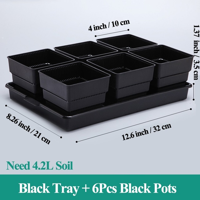 Details about  /Meshpot 2 3 4 Inches Square Plastic Succulents Planter Pots With Tray