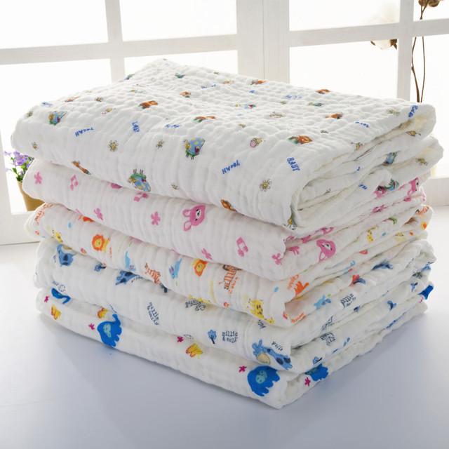 6 Capas de Gasa de Algodón Pañales de Gasa Bebé Manta Suave Manta de Bebé Recién Nacido Swaddle Baño Absorbente Toalla de múltiples funciones