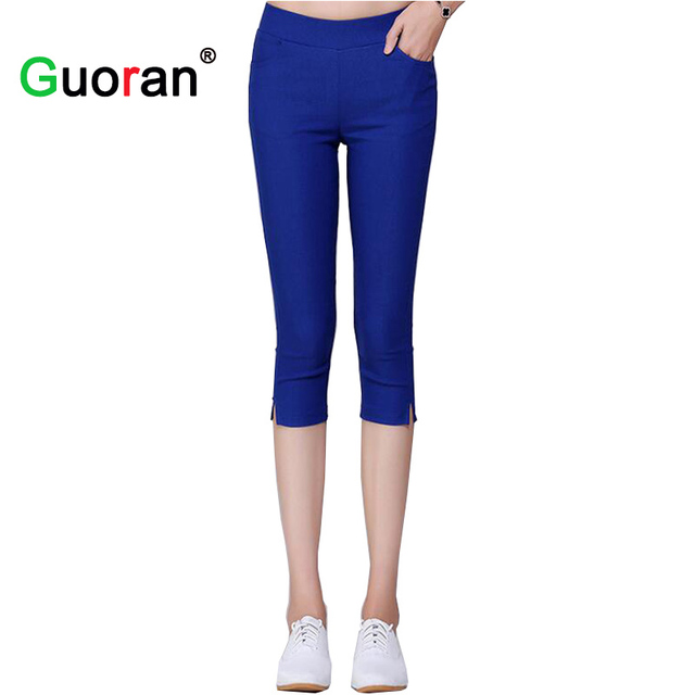 3af2f489dff  Guoran Women Capris Pencil Pants High Stretch Female Slim Candy Color  Leggings Ladies Elastic