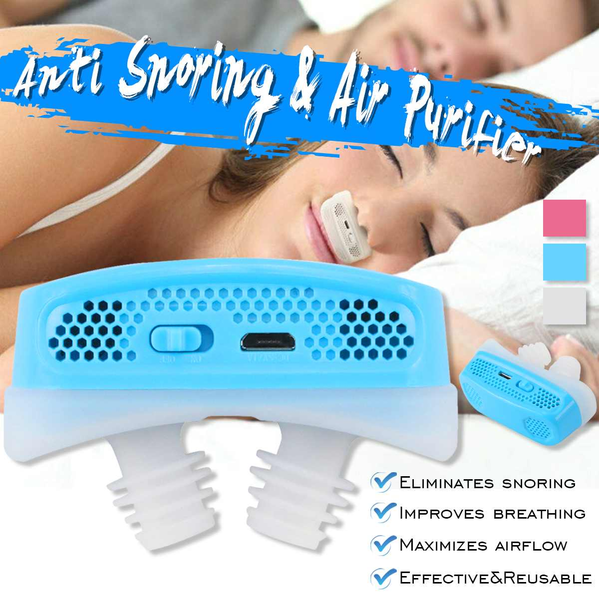Upgrade Electric Silicone Anti Snore Nose Stopping Breathing Apparatus Guard Sleeping Aid Mini Snoring Device Relieve SnoringUpgrade Electric Silicone Anti Snore Nose Stopping Breathing Apparatus Guard Sleeping Aid Mini Snoring Device Relieve Snoring