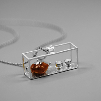 Teapot Natural Amber Necklace114