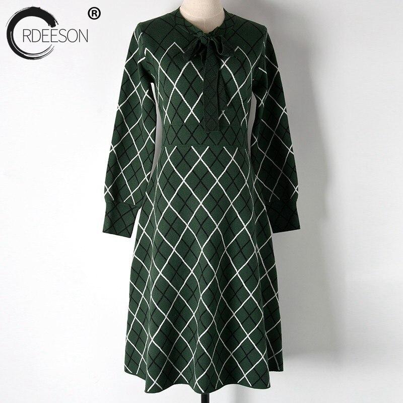 Casual Femmes Taille Ligne Chandail Vêtements Parti Une Pour Plaid Vert Ordeeson 2018 Élégante D'hiver Robe Vintage Bureau q6RYwE