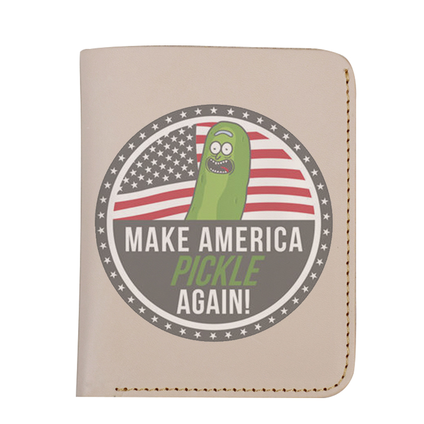 Funny Pickle Rick and Morty Genuine Leather Wallet Handmade Purse Cucumber Pickle Short Purse Women and Men Wallet 7 5 inch pickle rick cucumber soft plush toy