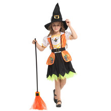Lovely Story Book Cat Witch Girl Costume Cosplay for Girls Child Halloween Carnival Party Mardi Gras Fancy Dress G-0317