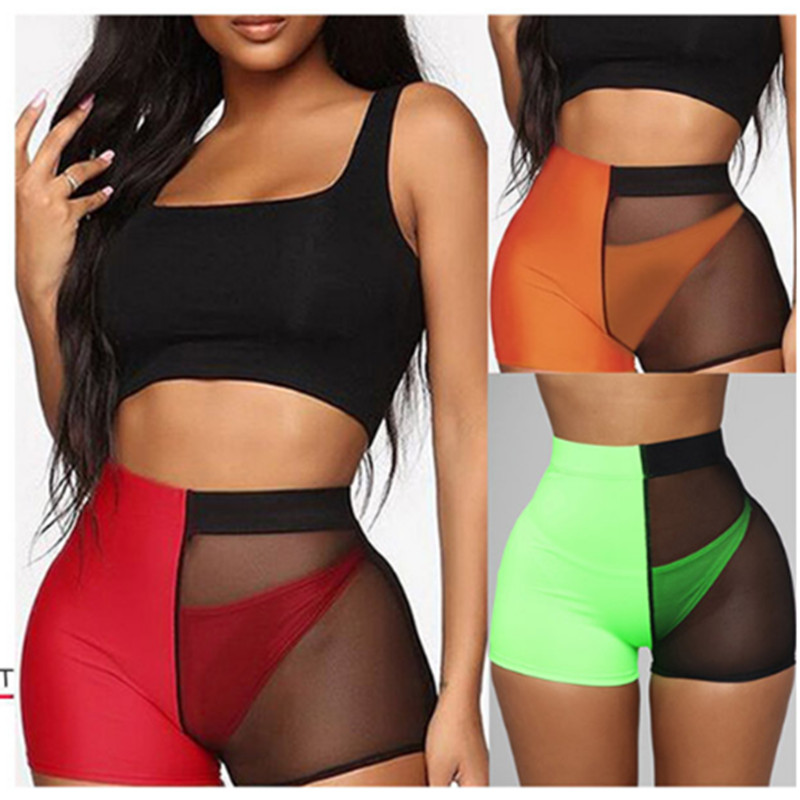 Fashion Women's Sexy Mesh   Shorts   High Waist Color Patchwork Fitness Workout Summer   Shorts   Female Hot   Short   Pants