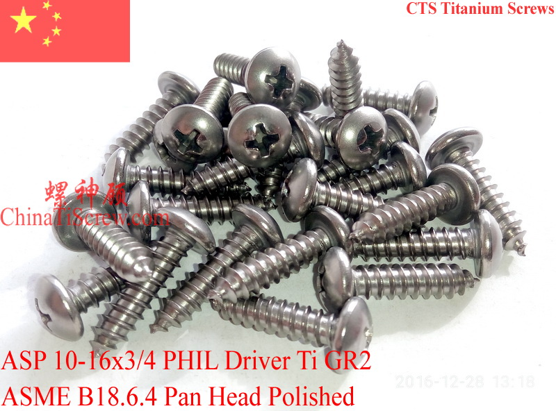 Titanium screws 10x3/4 Pan Head 2# Phillips Driver Polished Ti GR2 Polished 50 pcs