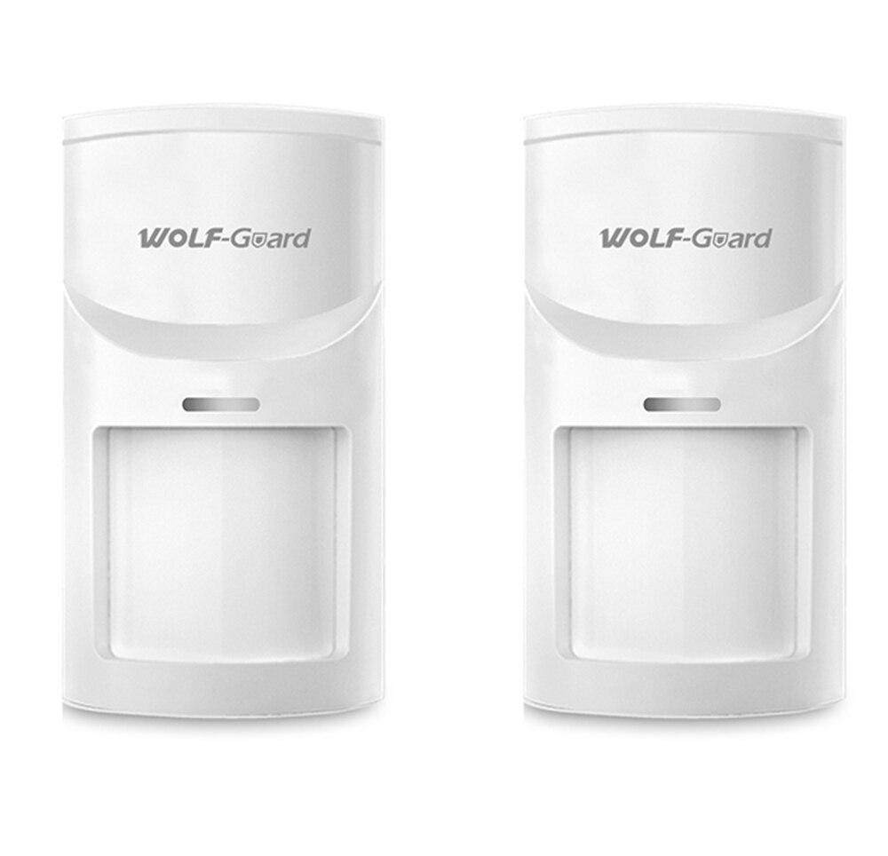 2 stücke Wolf-Guard Wireless PIR Sensor Motion Detektor für Home Security Alarm Einbrecher System 3G/GSM alarm Panel 433 MHZ HW-05B