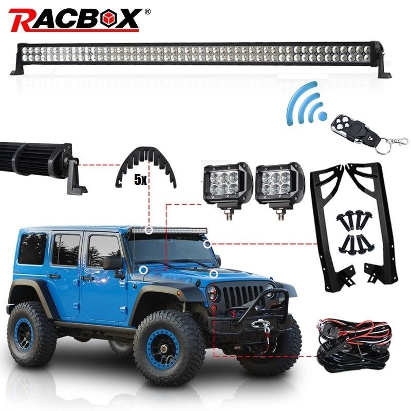 RACBOX 52 300W LED Light Bar Kit 4 LED Work Light Windshield Mount Bracket with Wireless Control For JEEP Wrangler JK 07-17