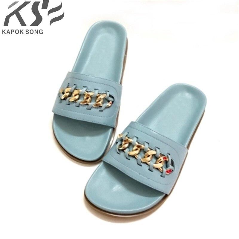 0455d2bed519a1 2018 Revit slide sandals women luxury designer genuine sheepskin really  leather lady shoes V flats slippers