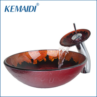 KEMAIDI Good Quality Hand Painted Bathroom Tempered Glass Vessel Washbasin Glass Sink With Brass Faucet Bathroom